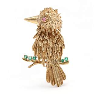 Gold and Gem-Set Whimsical Woodpecker Brooch