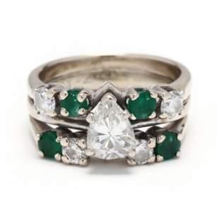 White Gold, Diamond, and Emerald Wedding Set