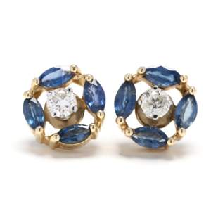 Pair of Diamond Ear Studs with Sapphire Earring Jackets