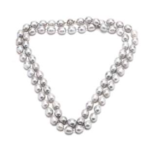 14KT White Gold and Grey Pearl Necklace