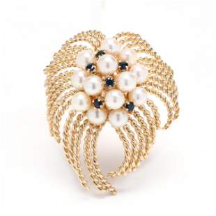 Gold, Pearl, and Sapphire Brooch