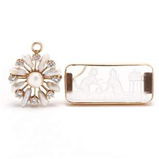 A Gold, Pearl and Diamond Brooch / Pendant and a Gold