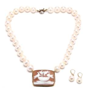 Pearl and Cameo Necklace and Pearl Earrings