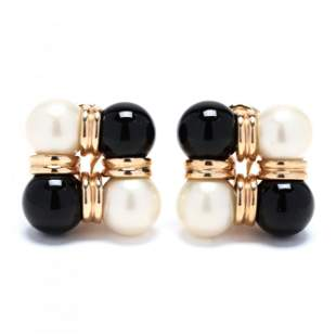 Pair of Gold, Pearl, and Onyx Earrings, Trianon