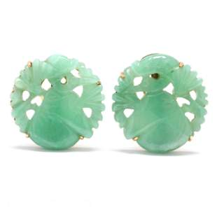 Gold and Carved Jade Ear Clips