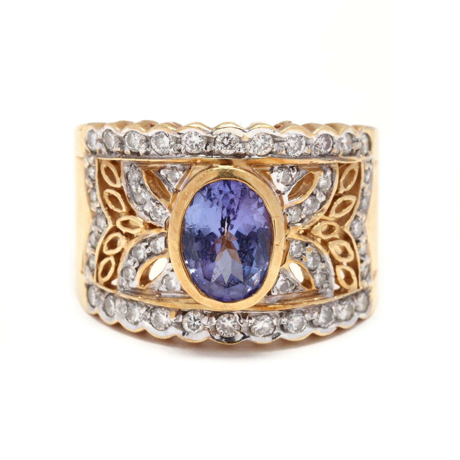 Gold, Tanzanite, and Diamond Ring, LeVian
