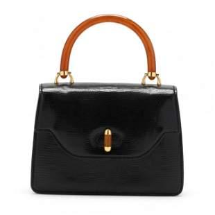 A Vintage Black Lizard Flap Handbag, Gucci
