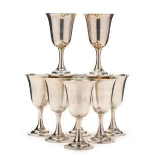 Eight Lord Saybrook Sterling Silver Goblets by