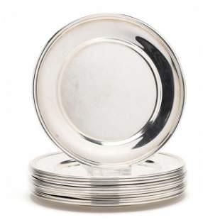 Set of Twelve Sterling Silver Bread Plates by S. Kirk &