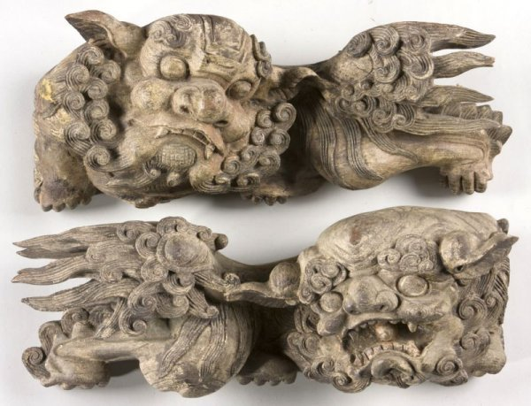 2: Pair of Antique Carved Wooden Foo Dogs