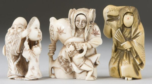 7: Three Ivory No Theater Netsukes