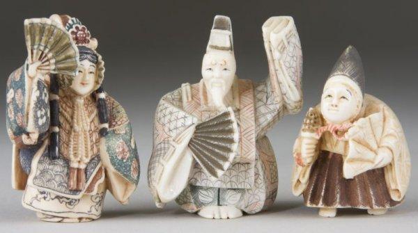 8: Three Ivory Kabuki Theater Netsukes