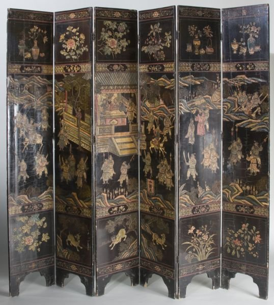 10: Asian Six Panel Lacquered Screen, 19th Century