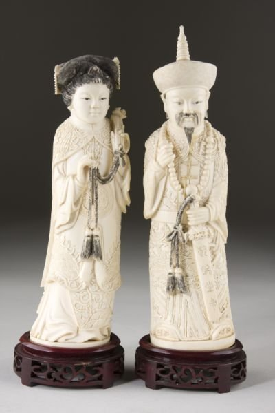13: Pair of Antique Chinese Ivory Figures