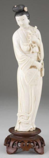 14: Japanese Ivory Okimono of a Young Lady