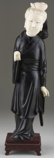 16: Asian Carved Ebony and Ivory Figural