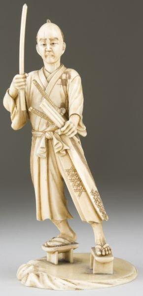 20: Japanese Carved Ivory Okimono of a Samurai