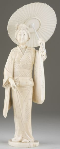 22: Large Japanese Ivory Okimono of a Young Woman