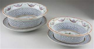 660: Two Chinese Export Armorial Chestnut Baskets