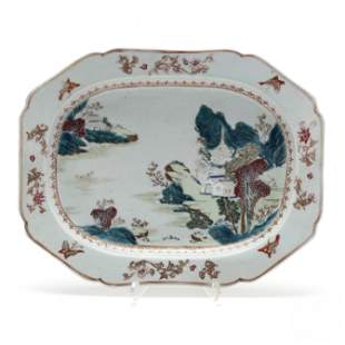 A Chinese Export Porcelain Platter with Scenic