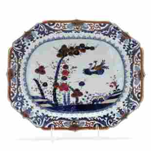 A Chinese Export Porcelain Bamboo and Flora Serving