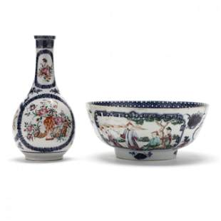 A Chinese Export Porcelain Punch Bowl and Bottle Vase