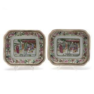 A Pair of Chinese Export Porcelain Rose Mandarin