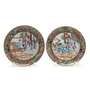 A Near Pair Chinese Export Porcelain Rose Mandarin