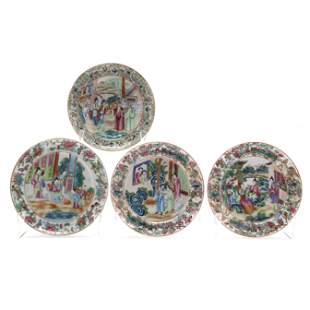 A Group of Chinese Export Rose Mandarin Porcelain