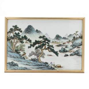 A Chinese Porcelain Painted Plaque