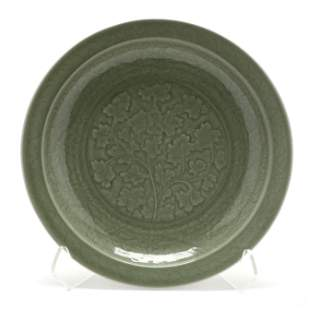 A Chinese Longquan Ming Style Celadon Charger
