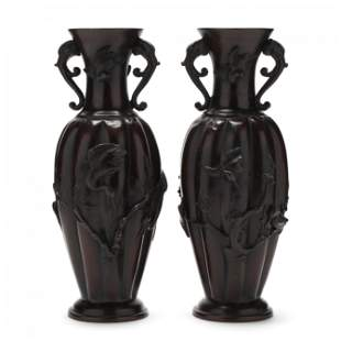Near Pair of Asian Style Tole Figural Vases