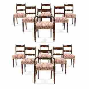 Set of Twelve English Sheraton Mahogany Dining Chairs
