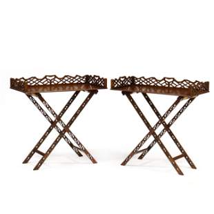 Pair of Chinese Chippendale Style Mahogany Butler Trays