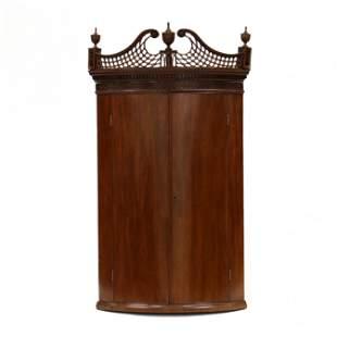 George III Hanging Mahogany Bow-Front Corner Cabinet