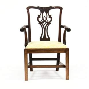 English Chippendale Mahogany Carved Armchair
