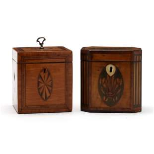 Two George III Inlaid Satinwood Tea Caddies
