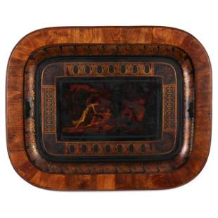 Antique Tole Tray, Framed