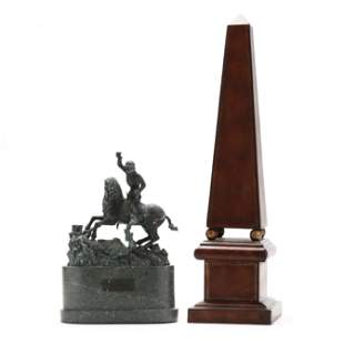 Leather Obelisk and Bronze Sculpture of St. George