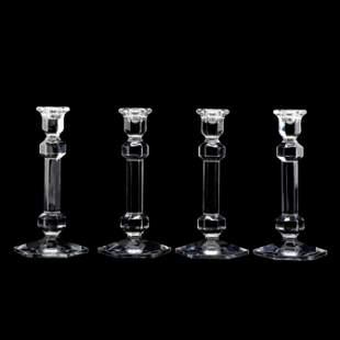 Val St. Lambert, Set of Four Crystal Candlesticks