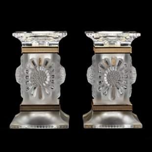 Lalique, Pair of Parquerettes Crystal Candlesticks