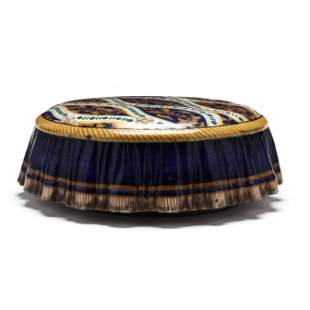 Antique Faience Footstool