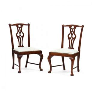 Pair of American Antique Queen Anne Style Mahogany Side