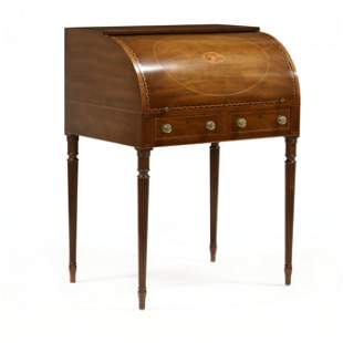 Kittinger, Sheraton Style Inlaid Mahogany Cylinder Desk