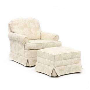 Clayton Marcus, Upholstered Club Chair and Ottoman