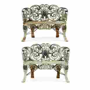 Pair of Victorian Painted Iron Garden Benches