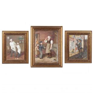 Three Antique French Hand-Painted Porcelain Plaques