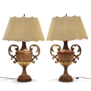 Pair of Parcel Gilt Wooden Urn Lamps