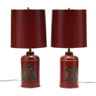 Vintage Pair of Decorative Tea Cannister Table Lamps