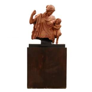 Life-Size Terra Cotta Partial Sculpture on Stand